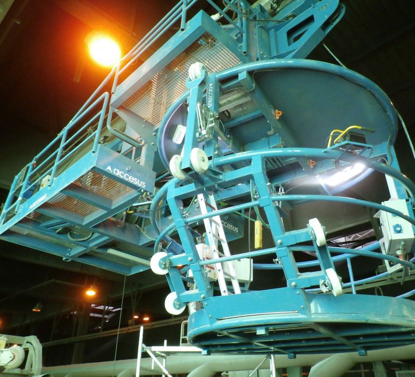Plataforma para mantenimiento refrigerante convertidor BOF (Acería)