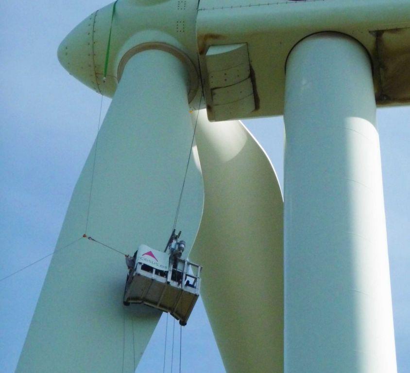 Plataforma Modublade mantenimiento palas aerogenerador GAMESA G-8